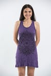 Sure Design Womens Lotus Mandala Tank Dress Purple