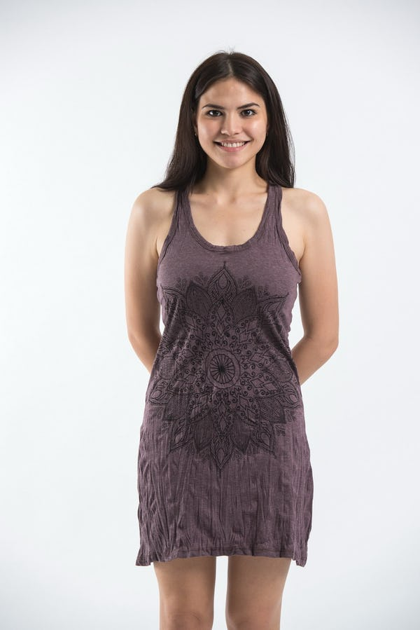 Sure Design Womens Lotus Mandala Tank Dress Brown