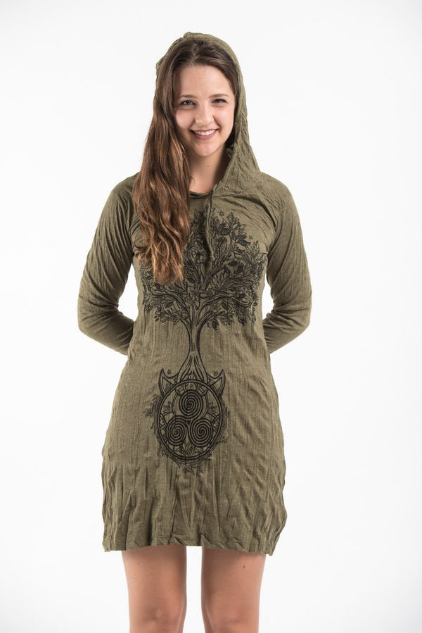 Sure Design Womens Celtic Tree Hoodie Dress Green