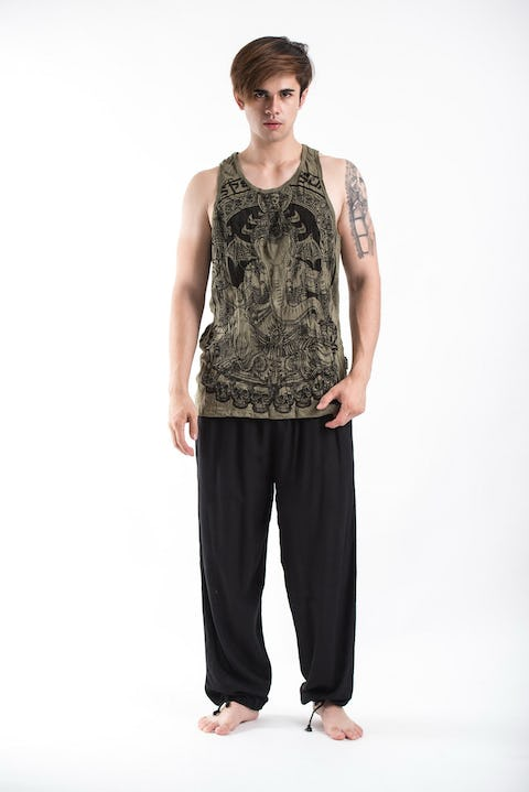 Sure Design Mens Batman Ganesh Tank Top Green