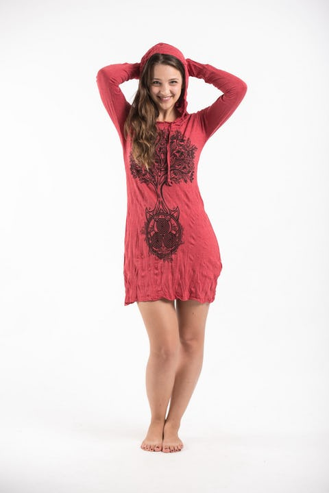 Sure Design Womens Celtic Tree Hoodie Dress Red