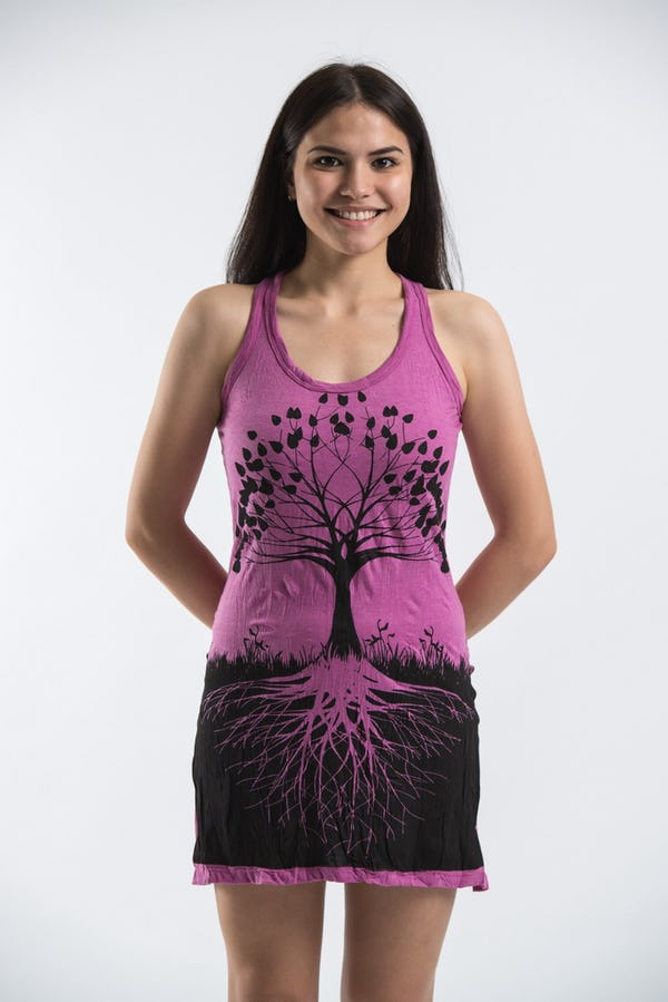 Sure Design Womens Tree Of Life Tank Dress Pink