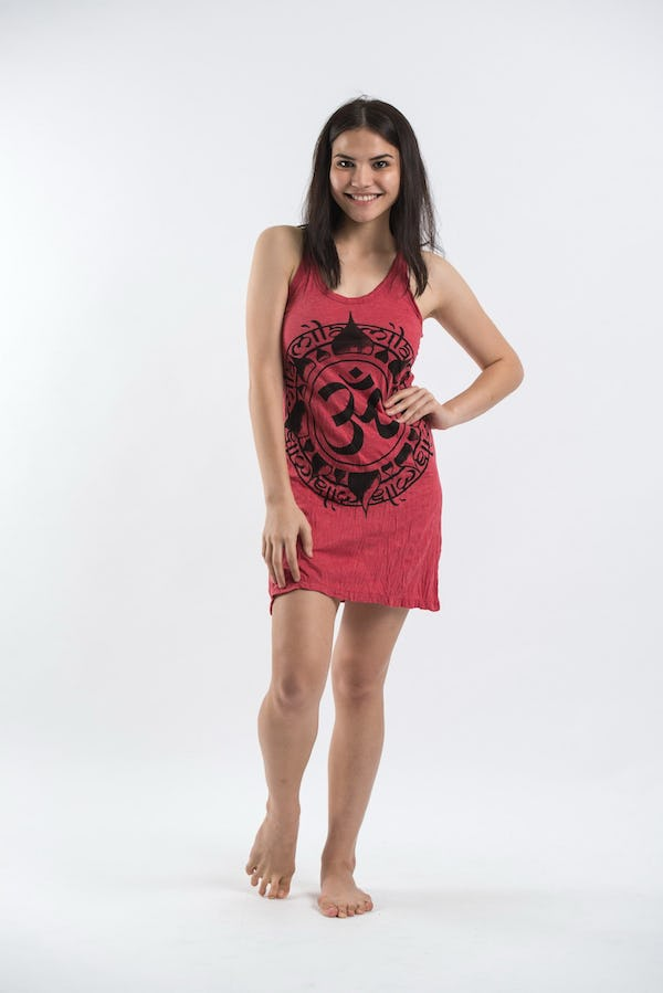 Sure Design Womens Infinitee Ohm Tank Dress Red