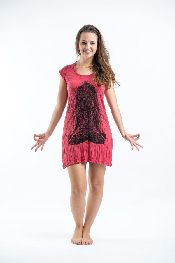 Womens Ganesh Mantra Dress in Red