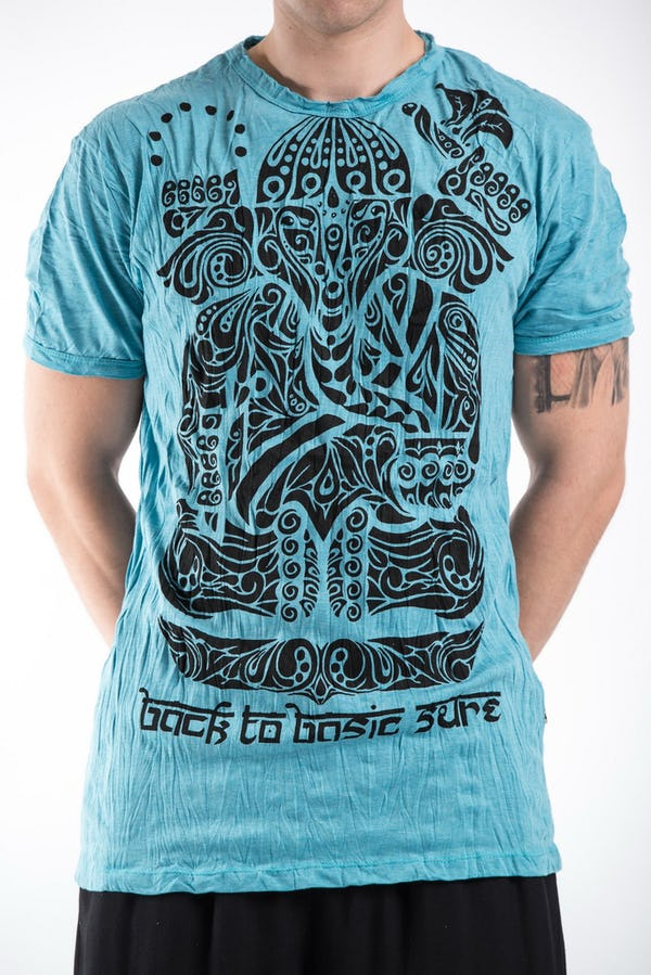 Sure Design Mens Tattoo Ganesh  T-Shirt Turquoise