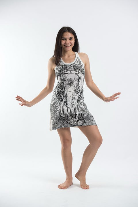 Sure Design Womens Wild Elephant Tank Dress White