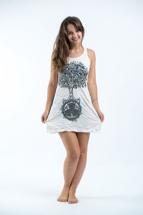 Sure Design Womens Celtic Tree Tank Dress White