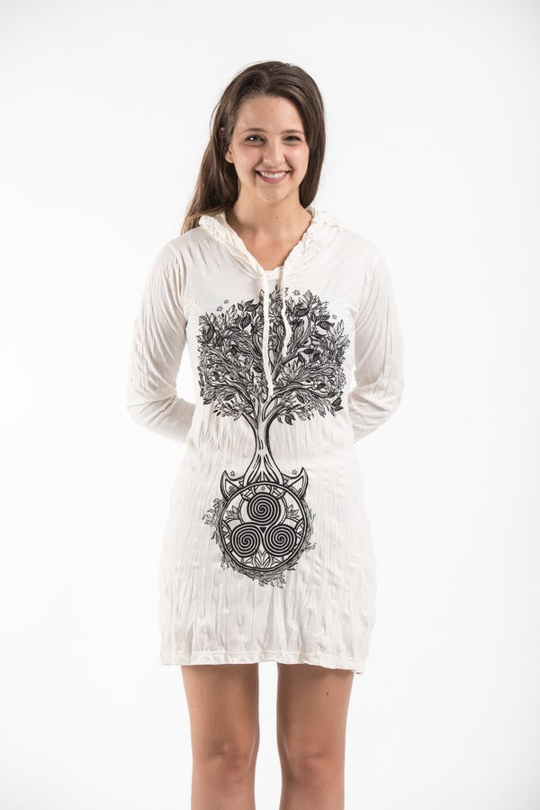 Sure Design Womens Celtic Tree Hoodie Dress White