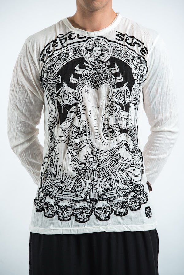 Sure Design Unisex Batman Ganesh Long Sleeve Shirts White
