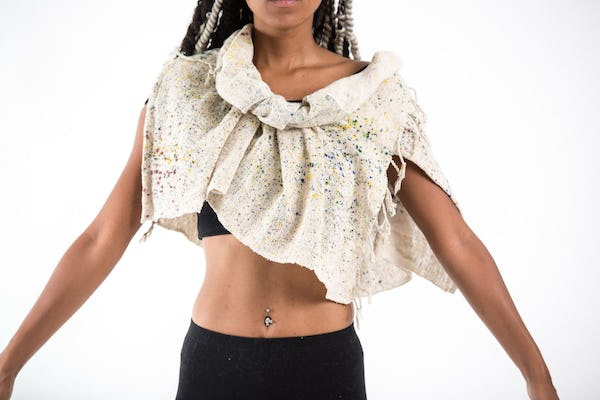 Hand Made Organic Cotton Shawl Scarf White