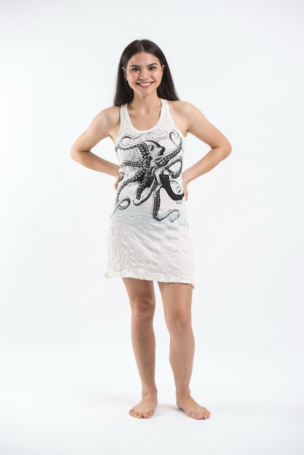 Sure Design Womens Octopus Tank Dress White