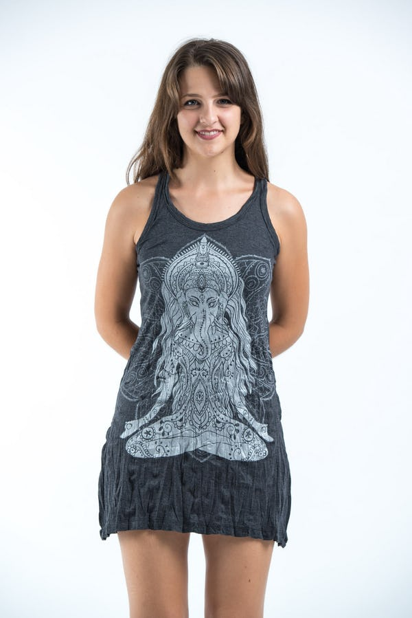 Sure Design Womens Ganesh Mantra Tank Dress Silver on Black