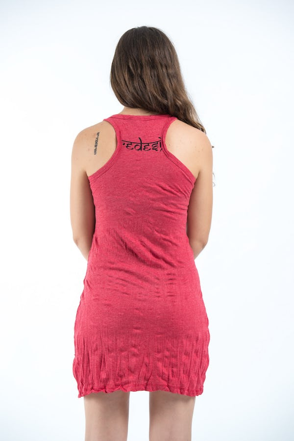 Sure Design Womens Ganesh Mantra Tank Dress Red