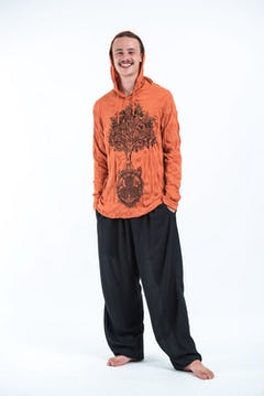Unisex Rust Thai Silk Fisherman Pants