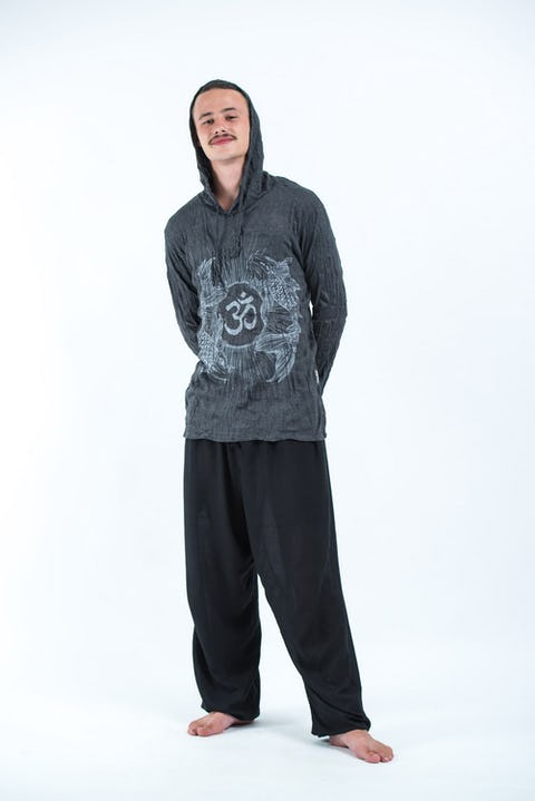 Sure Design Unisex Ohm and Koi fish Hoodie Silver on Black