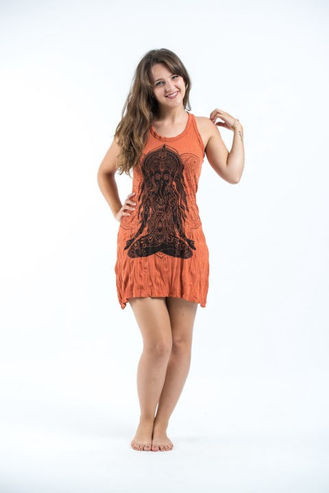 Sure Design Womens Ganesh Mantra Tank Dress Orange