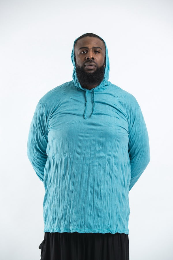 Plus Size Unisex Solid Hoodie Turquoise