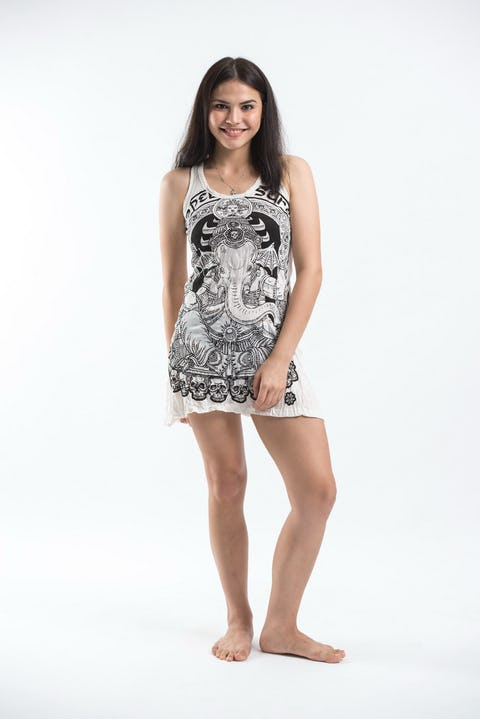 Sure Design Womens Batman Ganesh Tank Dress White