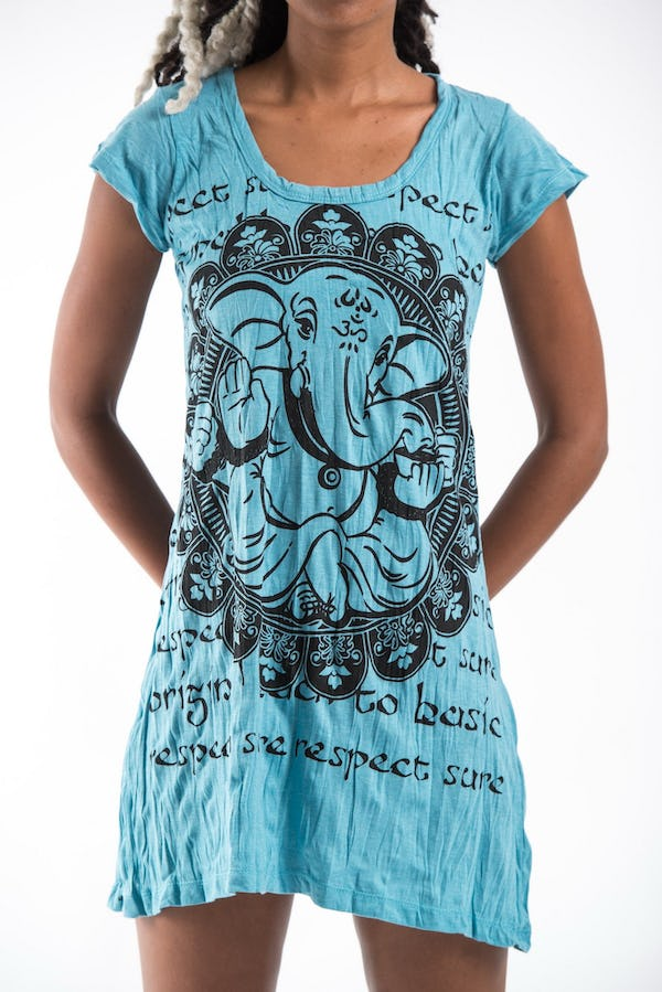 Sure Design Womens Avatar Ganesh Dress Turquoise