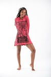 Sure Design Womens Sanskrit Buddha Hoodie Dress Red