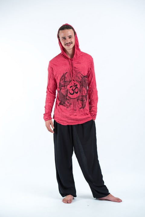 Sure Design Unisex Ohm and Koi fish Hoodie Red