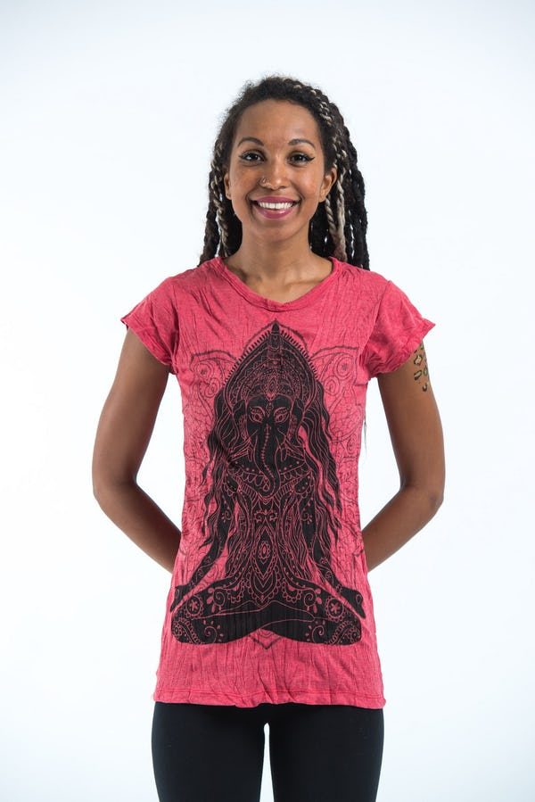 Sure Design Womens Ganesh Mantra T-Shirt Red
