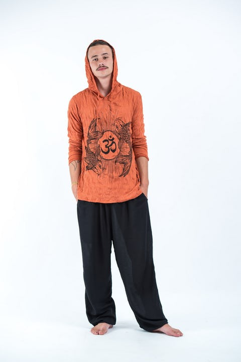 Sure Design Unisex Ohm and Koi Fish Hoodie Orange