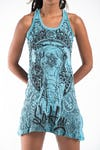 Sure Design Womens Wild Elephant Tank Dress Turquoise