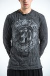 Sure Design Unisex Infinitee Ohm Long Sleeve Shirts Silver on Black