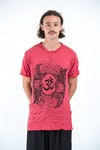 Sure Design Mens Ohm and Koi Fish T-Shirt Red