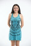 Sure Design Womens Thai Tattoo Tank Dress Turquoise