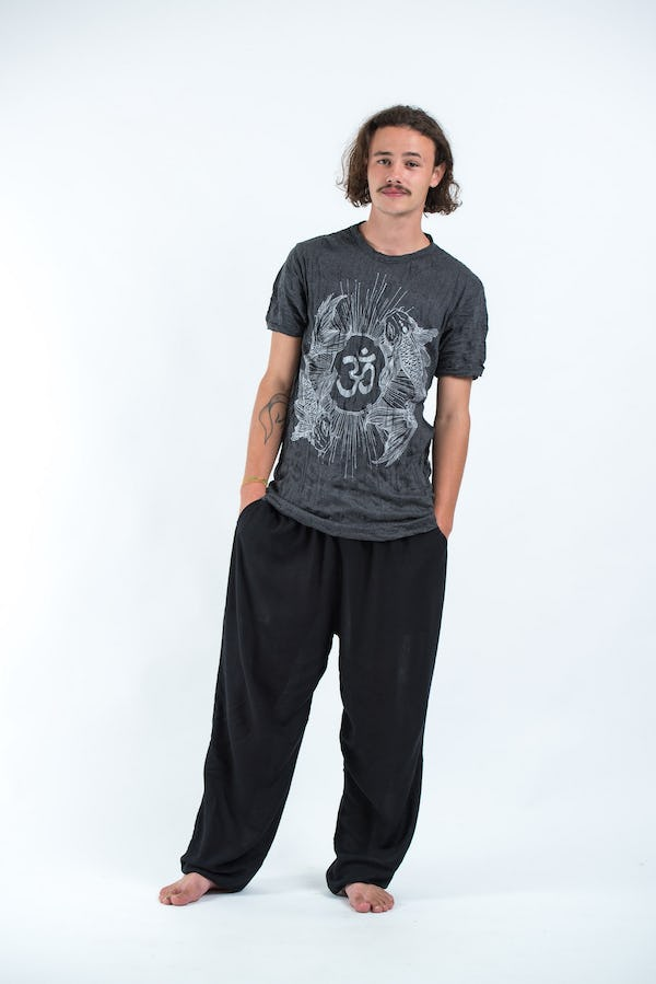 Mens Om and Koi Fish T-Shirt in Silver on Black