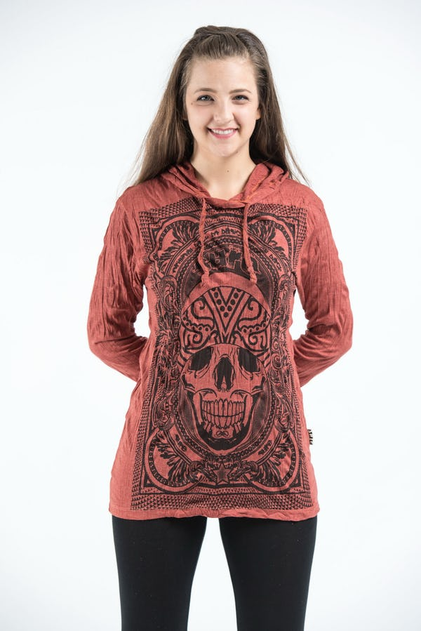 Sure Design Unisex Trippy Skull Hoodie Brick