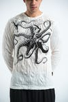 Sure Design Unisex Octopus Long Sleeve Shirts White