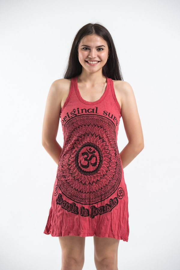 New Sure Design Womens Flower Ohm Tank Dress Red