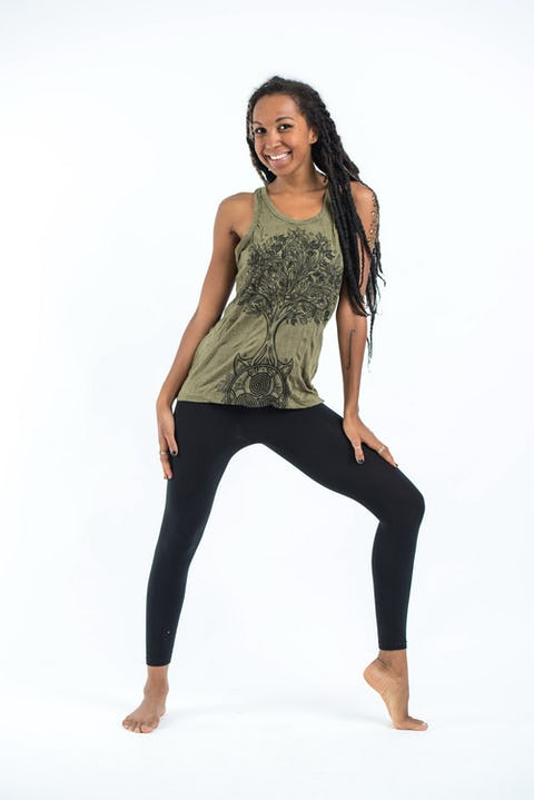 Sure Design Womens Celtic Tree Tank Top Green