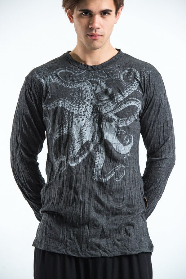 Sure Design Unisex Octopus Long Sleeve Shirt Silver on Black