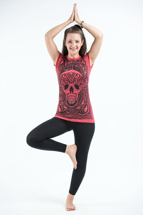 Sure Design Womens Trippy Skull T-Shirt Red