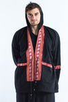 Unisex Thai Hill Tribe Hoodies with Embroidered Elephants Trim in Black