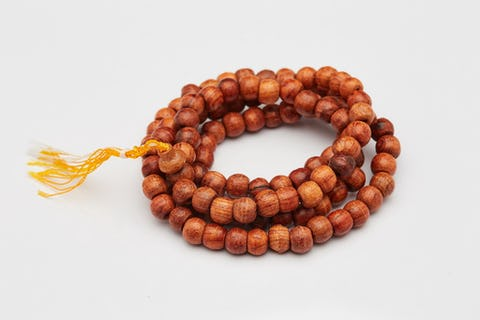 Tibetan Amber Wooden Prayer Beads Mala
