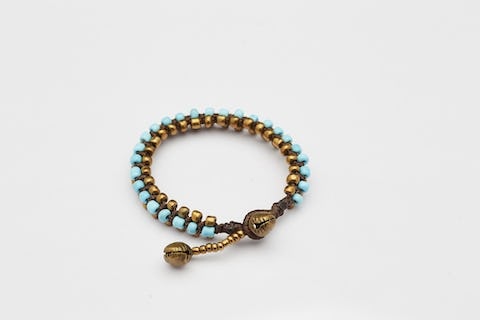 Hand Made Woven Brass Beaded Bracelets in Light Blue