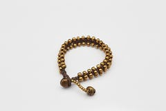 Brass Beads Bracelet with Brass Bells in Multi