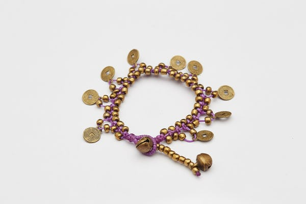 Chinese Coin Waxed Cotton Bracelets in Violet