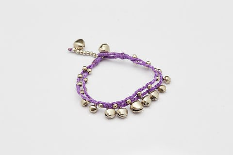 Silver Color Bell Waxed Cotton Bracelets in Violet
