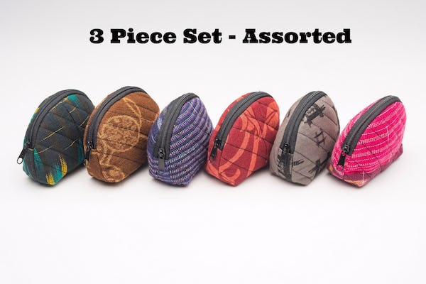 Assorted 3 Piece Set Upcycled Fabric Coin Purse
