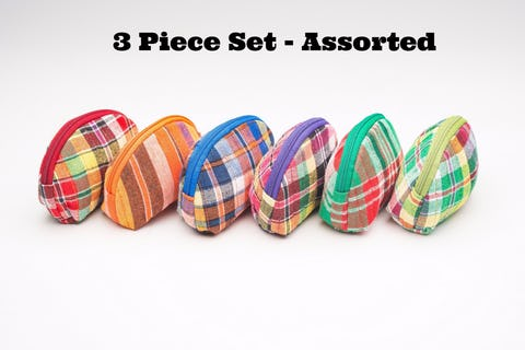 Assorted 3 Piece Set Upcycled Plaid Coin Purse