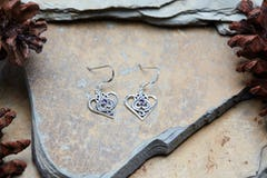 Hand Made Tribal Earrings Butterflies Silver With Topaz