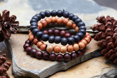 Set Of 3 Thai Wooden Mala Bead Elastic Bracelets
