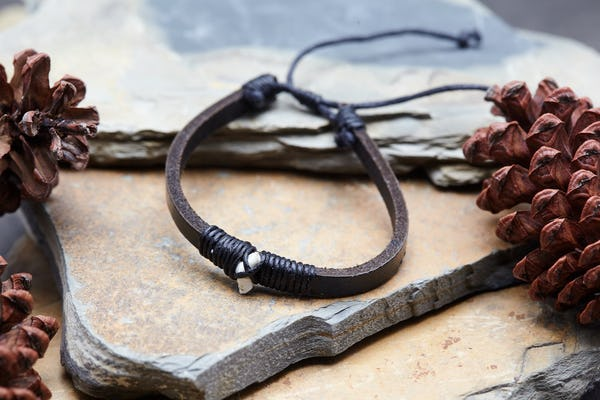 Fair Trade Hand Made Woven Leather Bracelet Shark Tooth Black