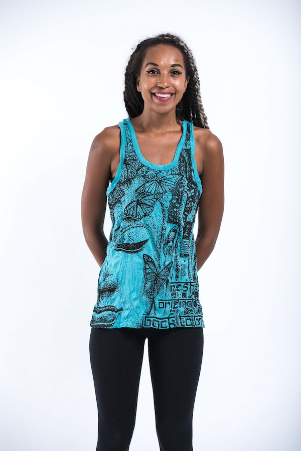 Sure Design Womens Butterfly Buddha Tank Top Turquoise